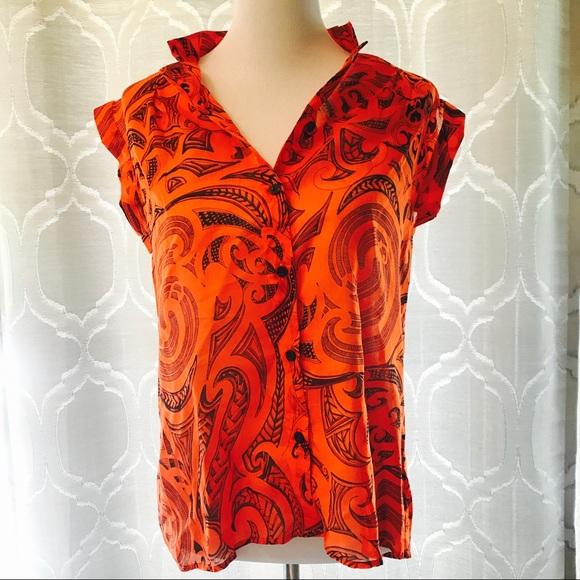 3235ba4a Versace Tops   Medusa Logo Print Button Blouse Top   Poshmark